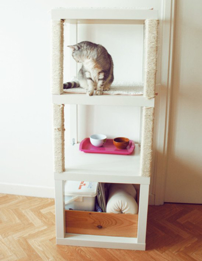 how to make diy cat tree cat condo from stacked ikea tables